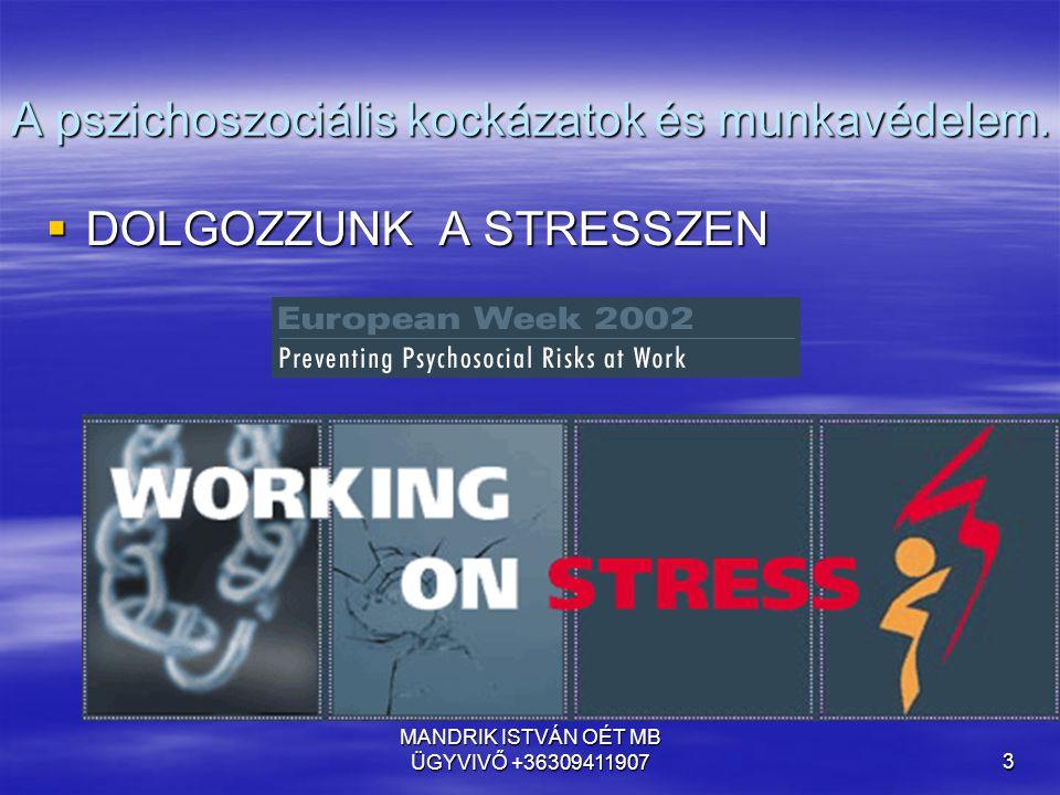 MANDRIK ISTVÁN OÉT MB ÜGYVIVŐ +363094119073 A pszichoszociális kockázatok és munkavédelem.  DOLGOZZUNK A STRESSZEN