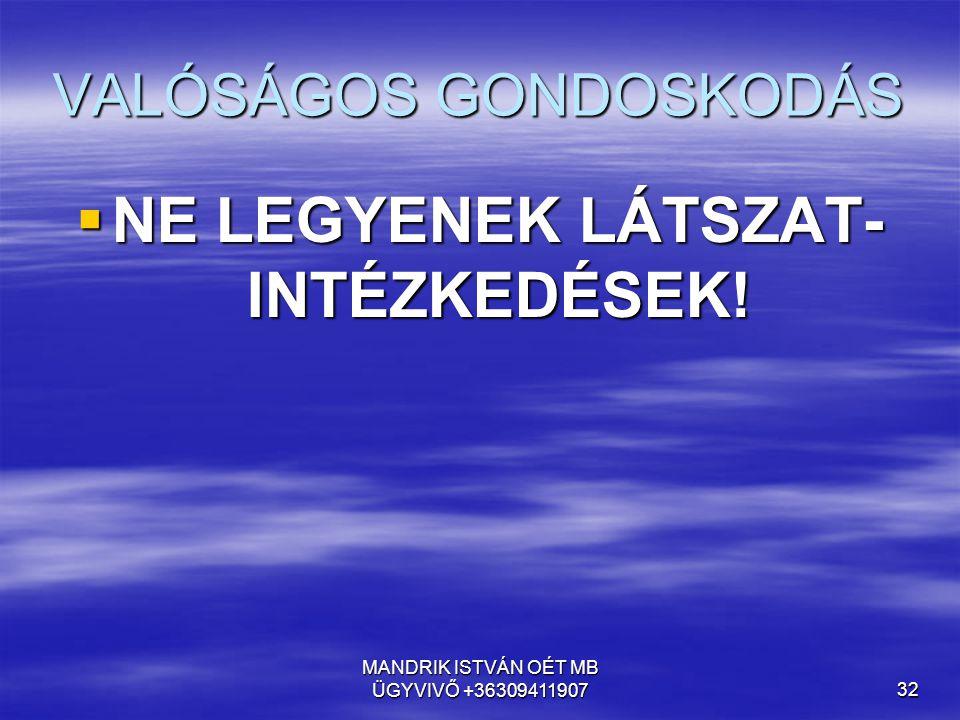 MANDRIK ISTVÁN OÉT MB ÜGYVIVŐ +3630941190732 VALÓSÁGOS GONDOSKODÁS  NE LEGYENEK LÁTSZAT- INTÉZKEDÉSEK!