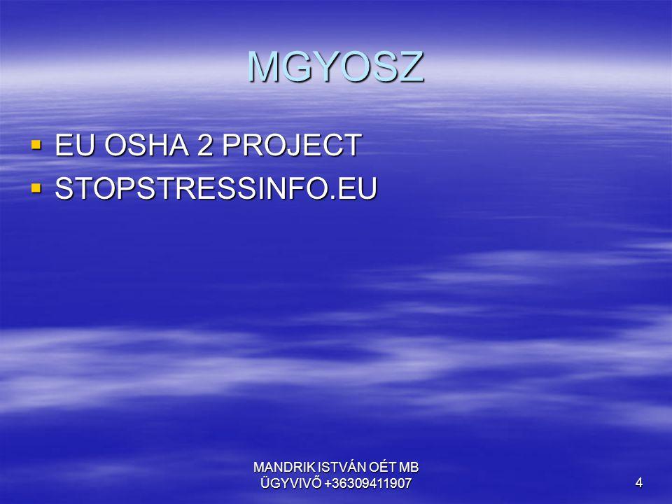 MANDRIK ISTVÁN OÉT MB ÜGYVIVŐ +363094119075 MIÉRT FOGLALKOZUNK A STRESSZEL 2012-BEN.