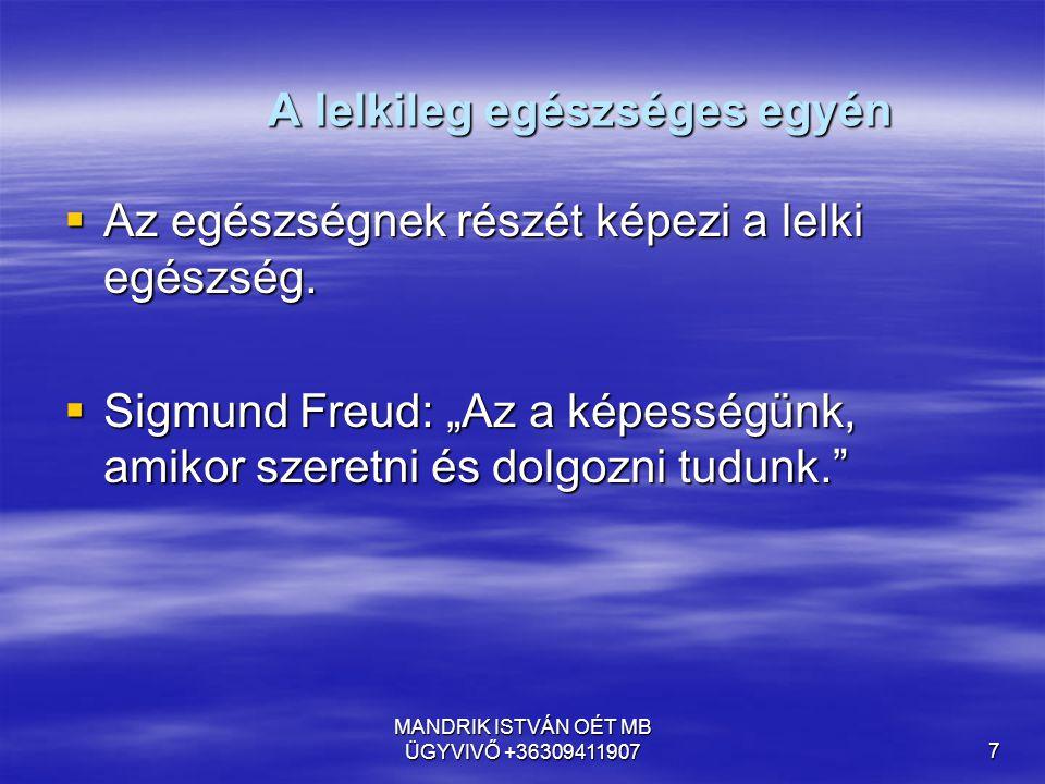 """MANDRIK ISTVÁN OÉT MB ÜGYVIVŐ +363094119077 A lelkileg egészséges egyén  Az egészségnek részét képezi a lelki egészség.  Sigmund Freud: """"Az a képess"""