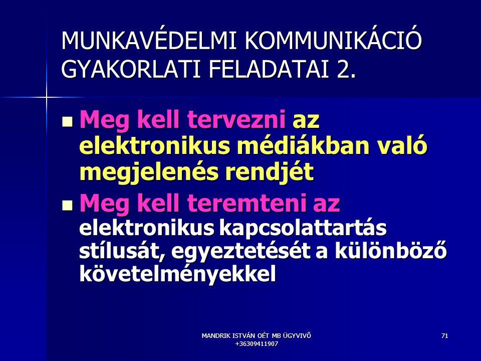 MANDRIK ISTVÁN OÉT MB ÜGYVIVŐ +36309411907 71 MUNKAVÉDELMI KOMMUNIKÁCIÓ GYAKORLATI FELADATAI 2. Meg kell tervezni az elektronikus médiákban való megje