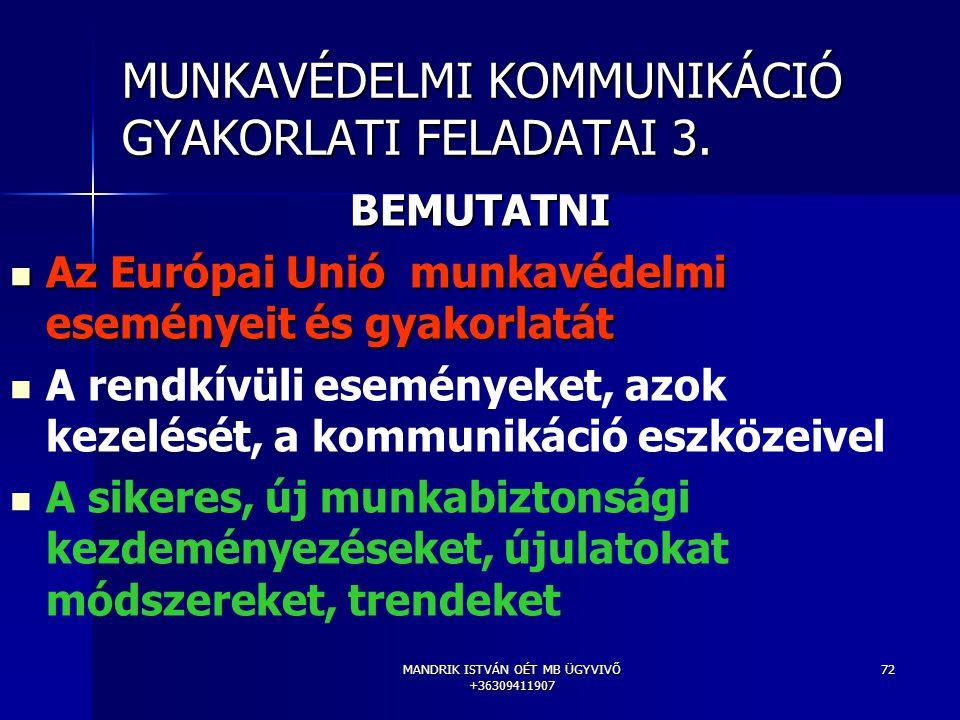 MANDRIK ISTVÁN OÉT MB ÜGYVIVŐ +36309411907 72 MUNKAVÉDELMI KOMMUNIKÁCIÓ GYAKORLATI FELADATAI 3. BEMUTATNI Az Európai Unió munkavédelmi eseményeit és g