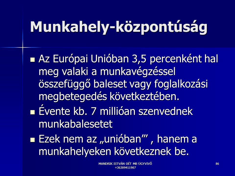 MANDRIK ISTVÁN OÉT MB ÜGYVIVŐ +36309411907 86 Munkahely-központúság Az Európai Unióban 3,5 percenként hal meg valaki a munkavégzéssel összefüggő bales
