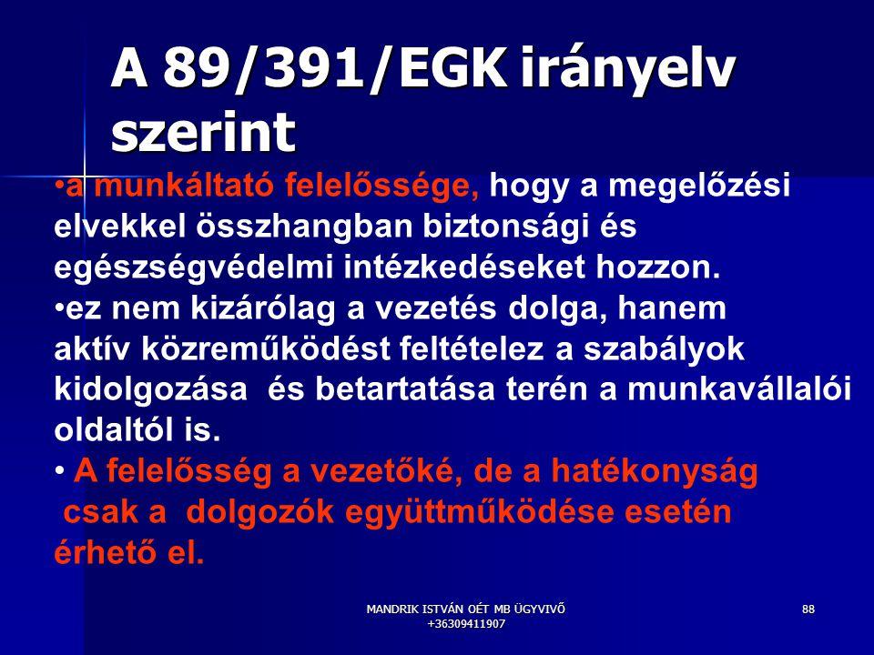 MANDRIK ISTVÁN OÉT MB ÜGYVIVŐ +36309411907 88 A 89/391/EGK irányelv szerint a munkáltató felelőssége, hogy a megelőzési elvekkel összhangban biztonság