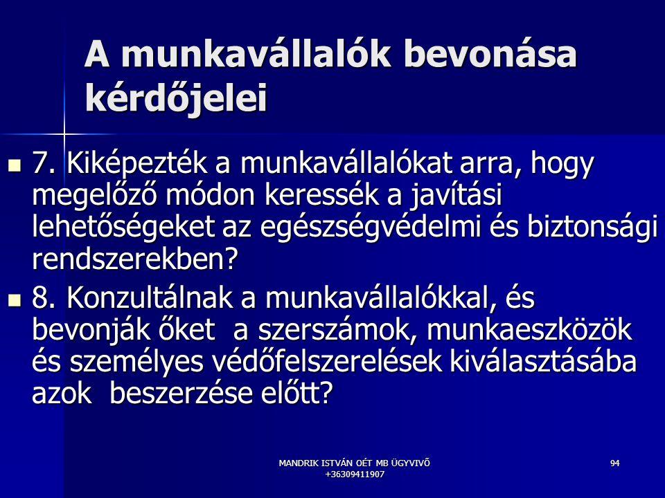 MANDRIK ISTVÁN OÉT MB ÜGYVIVŐ +36309411907 94 A munkavállalók bevonása kérdőjelei 7. Kiképezték a munkavállalókat arra, hogy megelőző módon keressék a