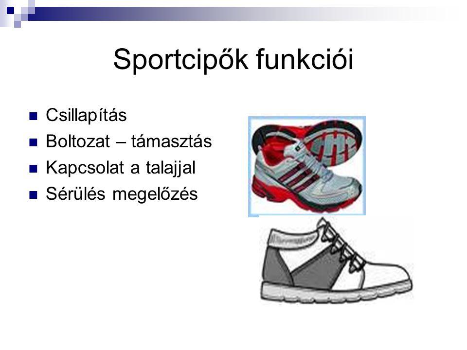 Sportcipők funkciói Csillapítás Boltozat – támasztás Kapcsolat a talajjal Sérülés megelőzés