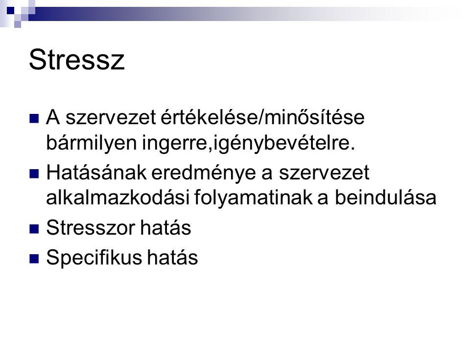Stressz A szervezet értékelése/minősítése bármilyen ingerre,igénybevételre. Hatásának eredménye a szervezet alkalmazkodási folyamatinak a beindulása S