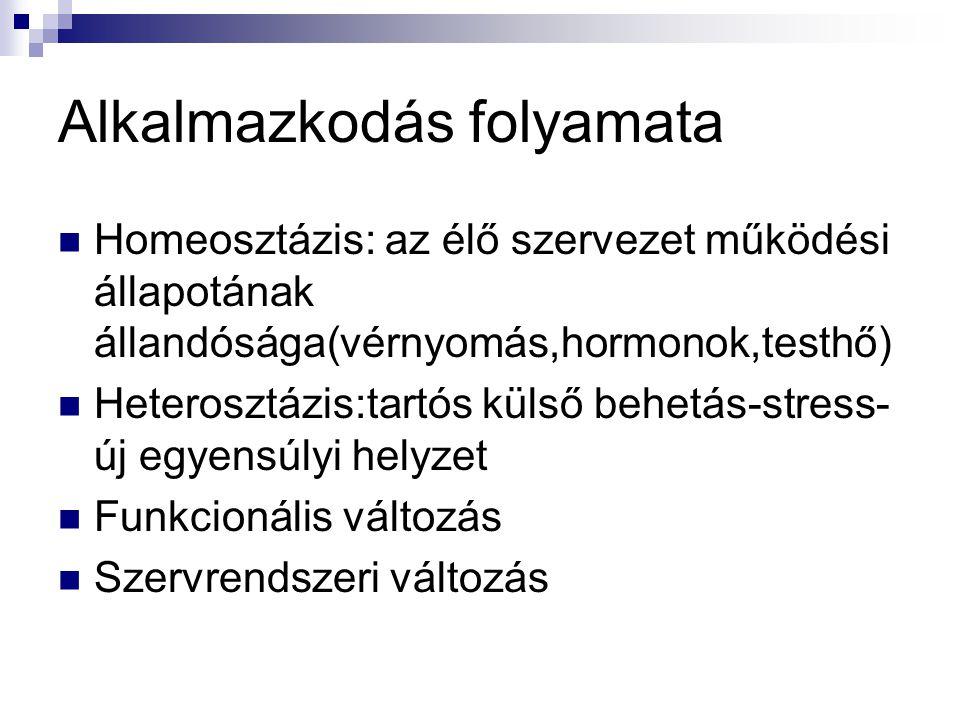 Alkalmazkodás folyamata Homeosztázis: az élő szervezet működési állapotának állandósága(vérnyomás,hormonok,testhő) Heterosztázis:tartós külső behetás-