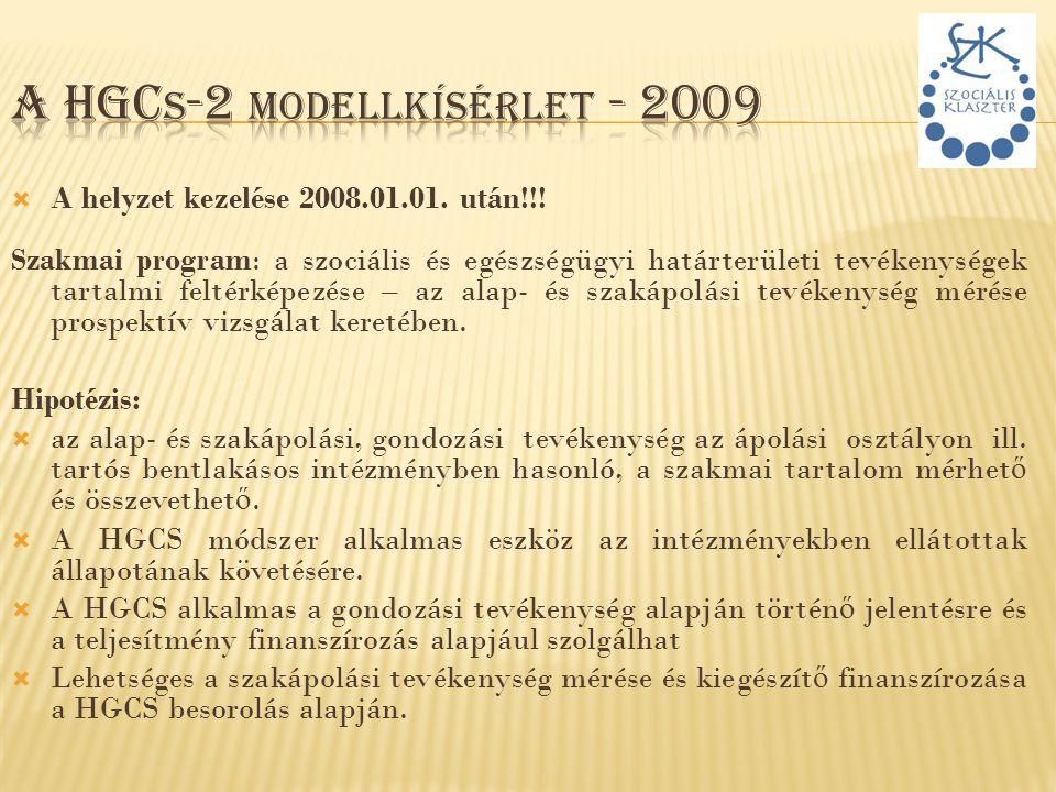  A helyzet kezelése 2008.01.01. után!!! Szakmai program: a szociális és egészségügyi határterületi tevékenységek tartalmi feltérképezése – az alap- é