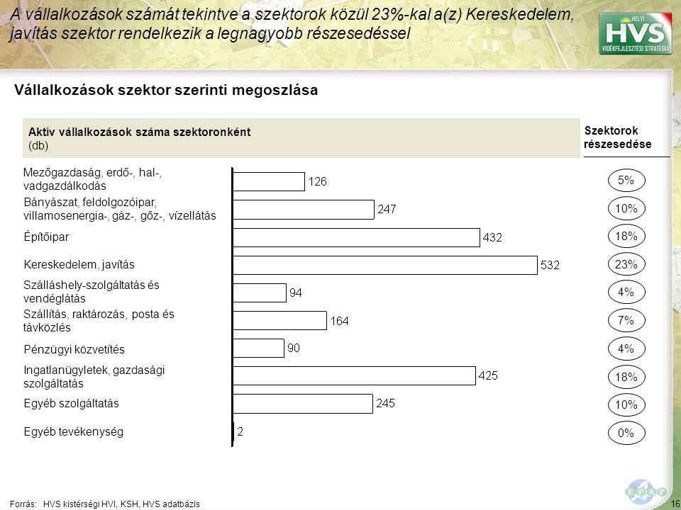 16 Forrás:HVS kistérségi HVI, KSH, HVS adatbázis Vállalkozások szektor szerinti megoszlása A vállalkozások számát tekintve a szektorok közül 23%-kal a(z) Kereskedelem, javítás szektor rendelkezik a legnagyobb részesedéssel Aktív vállalkozások száma szektoronként (db) Mezőgazdaság, erdő-, hal-, vadgazdálkodás Bányászat, feldolgozóipar, villamosenergia-, gáz-, gőz-, vízellátás Építőipar Kereskedelem, javítás Szálláshely-szolgáltatás és vendéglátás Szállítás, raktározás, posta és távközlés Pénzügyi közvetítés Ingatlanügyletek, gazdasági szolgáltatás Egyéb szolgáltatás Egyéb tevékenység Szektorok részesedése 5% 10% 23% 4% 7% 18% 10% 0% 18% 4%