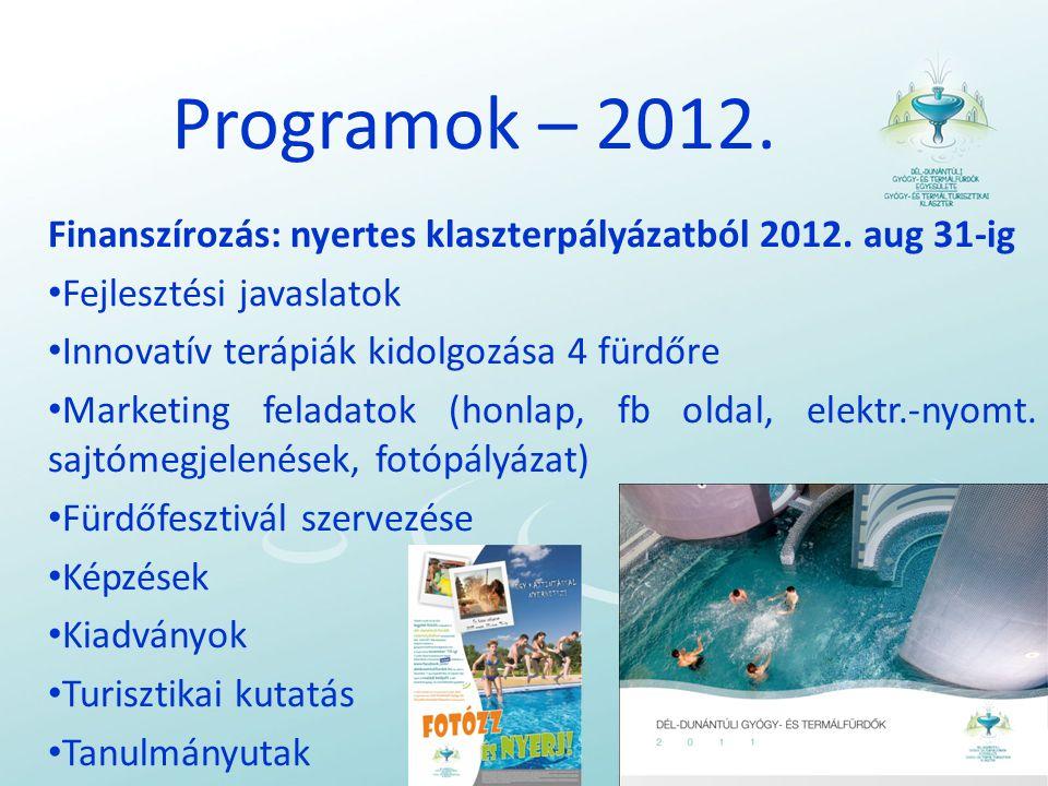 Programok – 2012.Finanszírozás: nyertes klaszterpályázatból 2012.