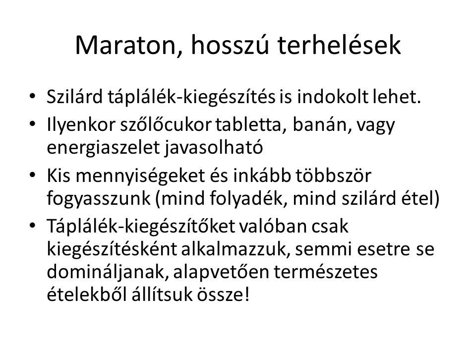 Maraton, hosszú terhelések Szilárd táplálék-kiegészítés is indokolt lehet. Ilyenkor szőlőcukor tabletta, banán, vagy energiaszelet javasolható Kis men