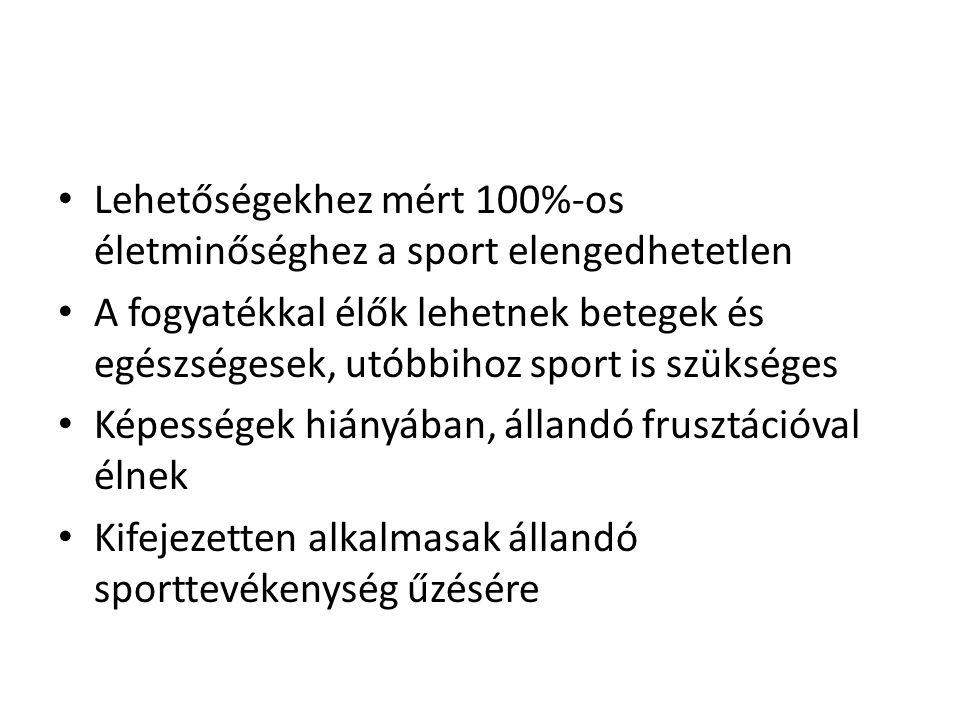 Lehetőségekhez mért 100%-os életminőséghez a sport elengedhetetlen A fogyatékkal élők lehetnek betegek és egészségesek, utóbbihoz sport is szükséges K