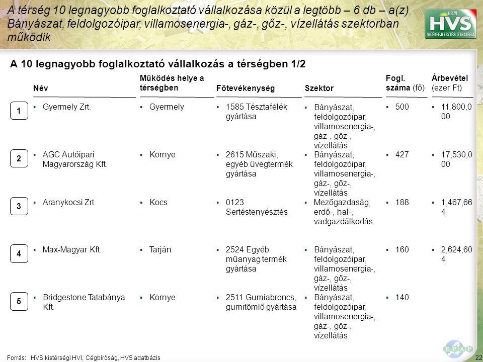 22 Forrás:HVS kistérségi HVI, Cégbíróság, HVS adatbázis A 10 legnagyobb foglalkoztató vállalkozás a térségben 1/2 A térség 10 legnagyobb foglalkoztató