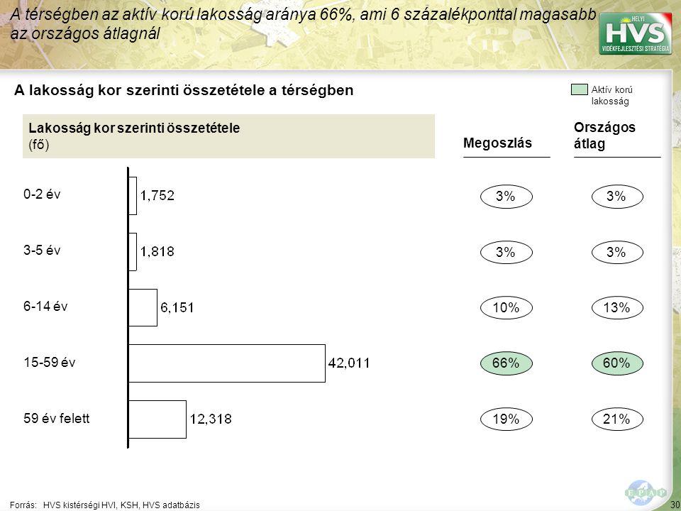 30 Forrás:HVS kistérségi HVI, KSH, HVS adatbázis A lakosság kor szerinti összetétele a térségben A térségben az aktív korú lakosság aránya 66%, ami 6