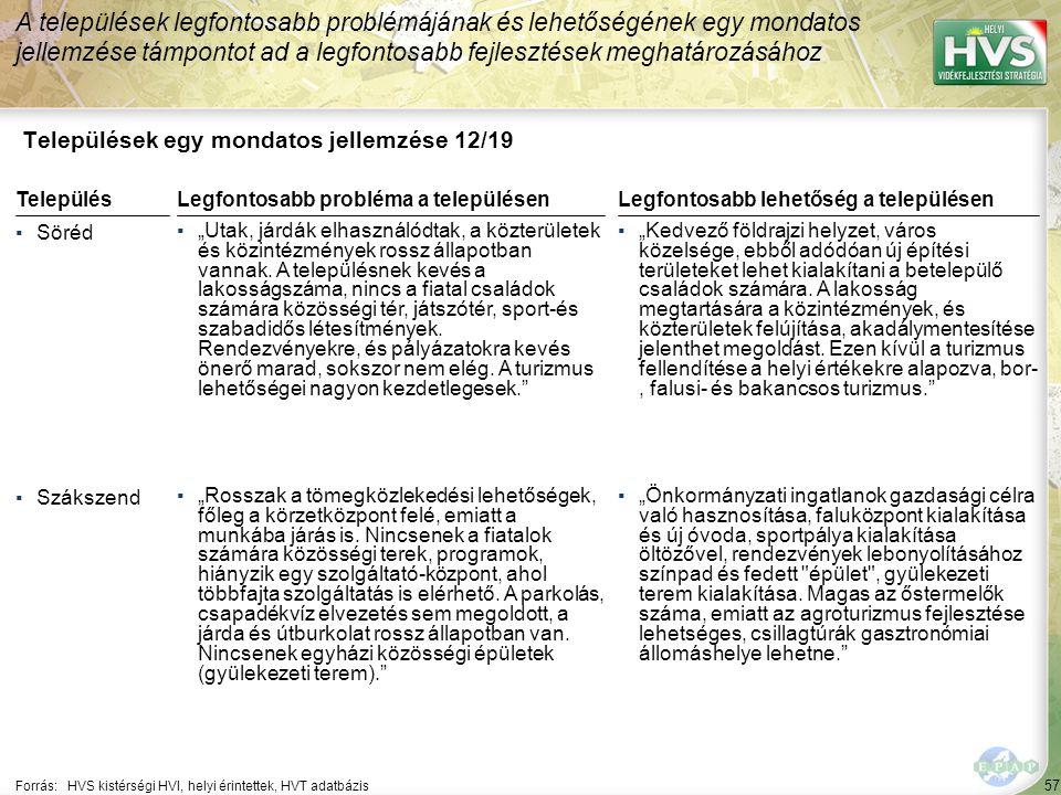 57 Települések egy mondatos jellemzése 12/19 A települések legfontosabb problémájának és lehetőségének egy mondatos jellemzése támpontot ad a legfonto