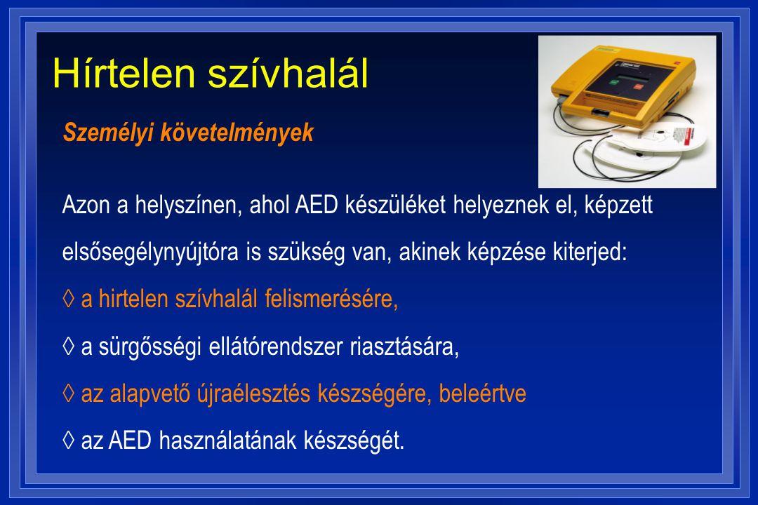 Hírtelen szívhalál Személyi követelmények Azon a helyszínen, ahol AED készüléket helyeznek el, képzett elsősegélynyújtóra is szükség van, akinek képzé