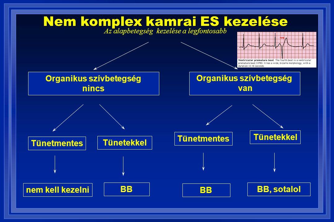 Nem komplex kamrai ES kezelése Az alapbetegség kezelése a legfontosabb Organikus szívbetegség nincs Organikus szívbetegség van Tünetmentes Tünetekkel