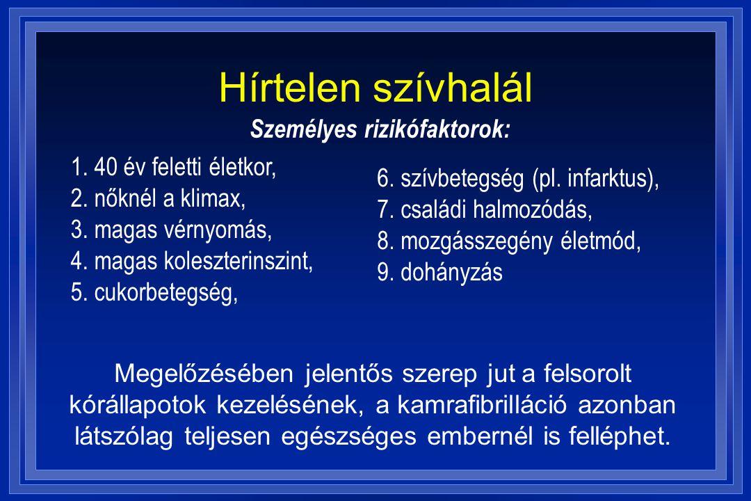 Hírtelen szívhalál Személyes rizikófaktorok: 6. szívbetegség (pl. infarktus), 7. családi halmozódás, 8. mozgásszegény életmód, 9. dohányzás Megelőzésé