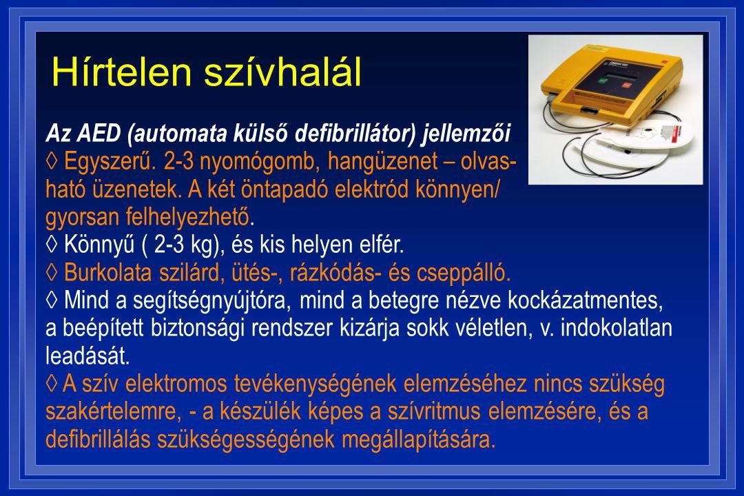 Hírtelen szívhalál Az AED (automata külső defibrillátor) jellemzői ◊ Egyszerű. 2-3 nyomógomb, hangüzenet – olvas- ható üzenetek. A két öntapadó elektr
