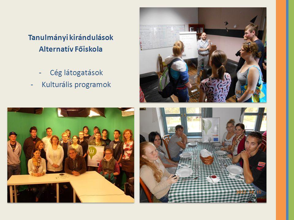 Tanulmányi kirándulások Alternatív Főiskola -Cég látogatások -Kulturális programok