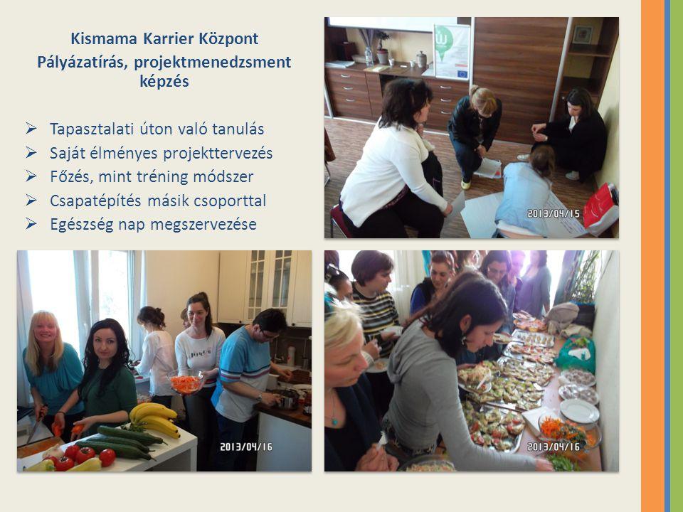 Kismama Karrier Központ Pályázatírás, projektmenedzsment képzés  Tapasztalati úton való tanulás  Saját élményes projekttervezés  Főzés, mint trénin