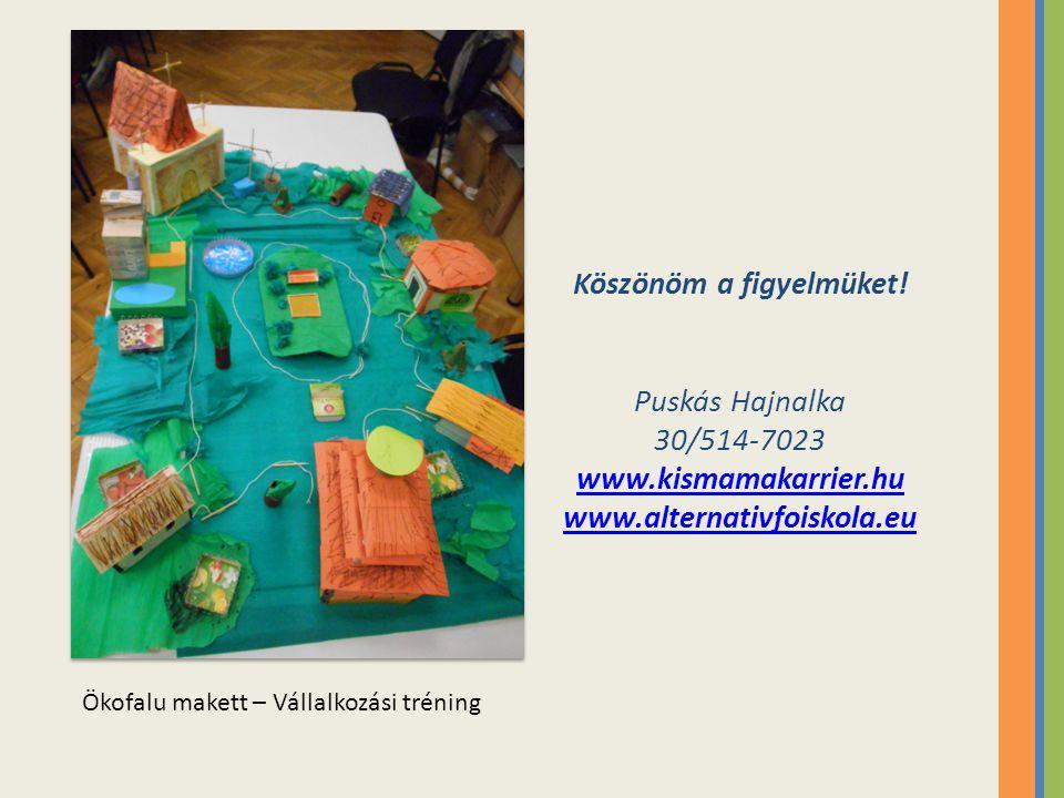 Köszönöm a figyelmüket! Puskás Hajnalka 30/514-7023 www.kismamakarrier.hu www.alternativfoiskola.eu Ökofalu makett – Vállalkozási tréning