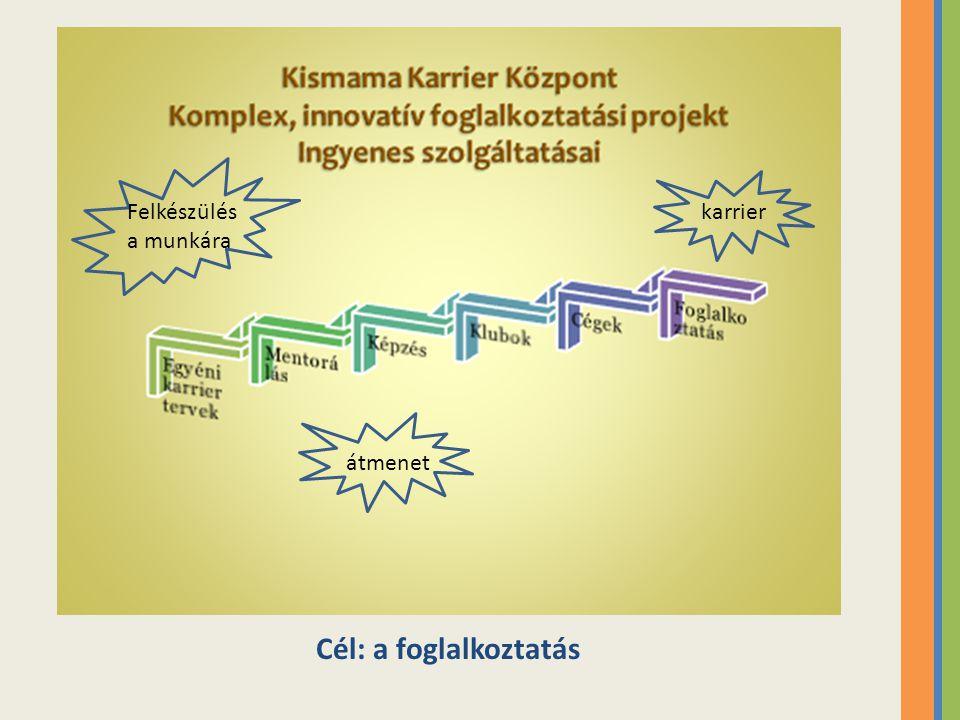 Kismama Karrier Központ Pályázatírás, projektmenedzsment képzés  Tapasztalati úton való tanulás  Saját élményes projekttervezés  Főzés, mint tréning módszer  Csapatépítés másik csoporttal  Egészség nap megszervezése
