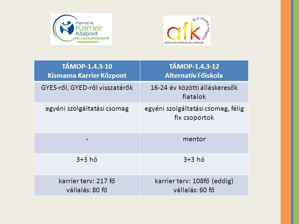 TÁMOP-1.4.3-10 Kismama Karrier Központ TÁMOP-1.4.3-12 Alternatív Főiskola célcsoport foglalkoztatása a megvalósítók között (atipikus foglalkoztatási formák) célcsoport foglalkoztatása a projektben kisegítő munkakörökben családi napokszülők hozzák a gyereküket tanulmányi kirándulások közösségi élet, klubokközösségi kulturális programok -helyi munkaerő (brand) társadalmi felelősségvállalás
