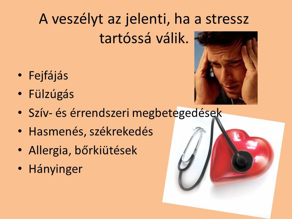A veszélyt az jelenti, ha a stressz tartóssá válik. Fejfájás Fülzúgás Szív- és érrendszeri megbetegedések Hasmenés, székrekedés Allergia, bőrkiütések