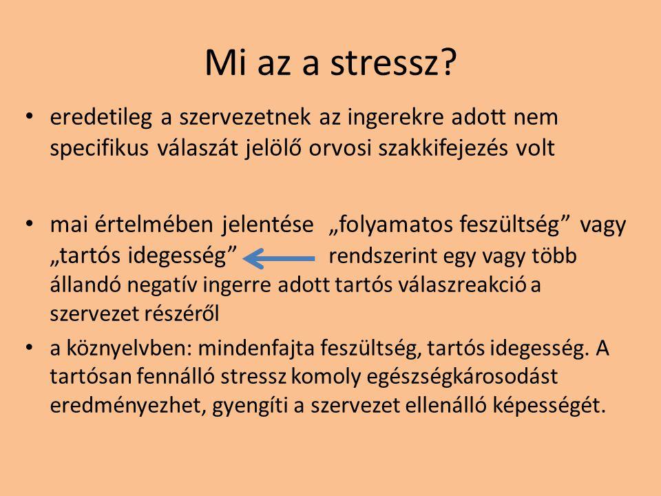 """Mi az a stressz? eredetileg a szervezetnek az ingerekre adott nem specifikus válaszát jelölő orvosi szakkifejezés volt mai értelmében jelentése """"folya"""