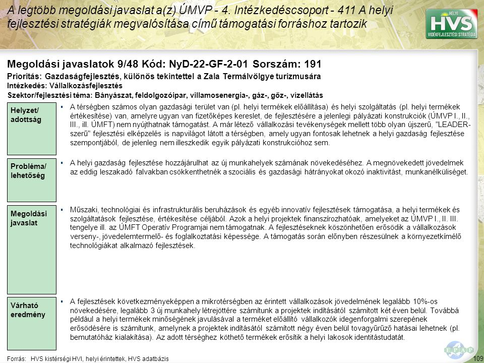 109 Forrás:HVS kistérségi HVI, helyi érintettek, HVS adatbázis Megoldási javaslatok 9/48 Kód: NyD-22-GF-2-01 Sorszám: 191 A legtöbb megoldási javaslat