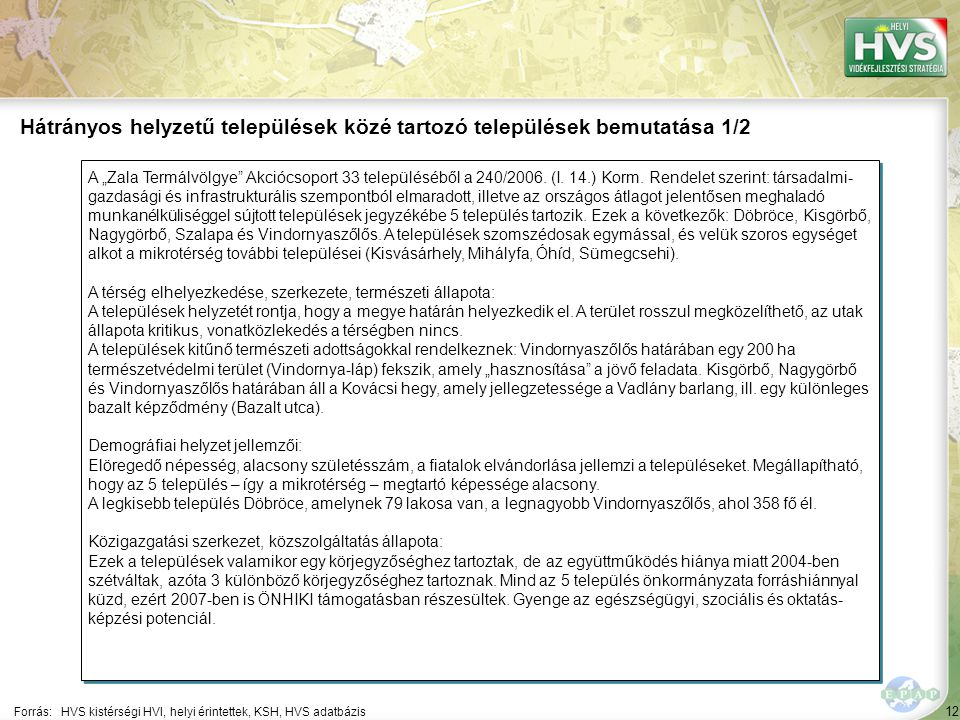 """12 A """"Zala Termálvölgye"""" Akciócsoport 33 településéből a 240/2006. (I. 14.) Korm. Rendelet szerint: társadalmi- gazdasági és infrastrukturális szempon"""