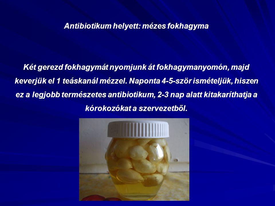 Antibiotikum helyett: mézes fokhagyma Két gerezd fokhagymát nyomjunk át fokhagymanyomón, majd keverjük el 1 teáskanál mézzel. Naponta 4-5-ször ismétel