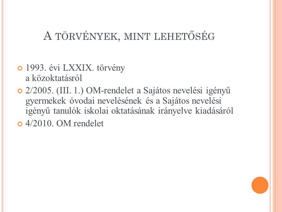 A TÖRVÉNYEK, MINT LEHETŐSÉG 1993. évi LXXIX. törvény a közoktatásról 2/2005. (III. 1.) OM-rendelet a Sajátos nevelési igényű gyermekek óvodai nevelésé