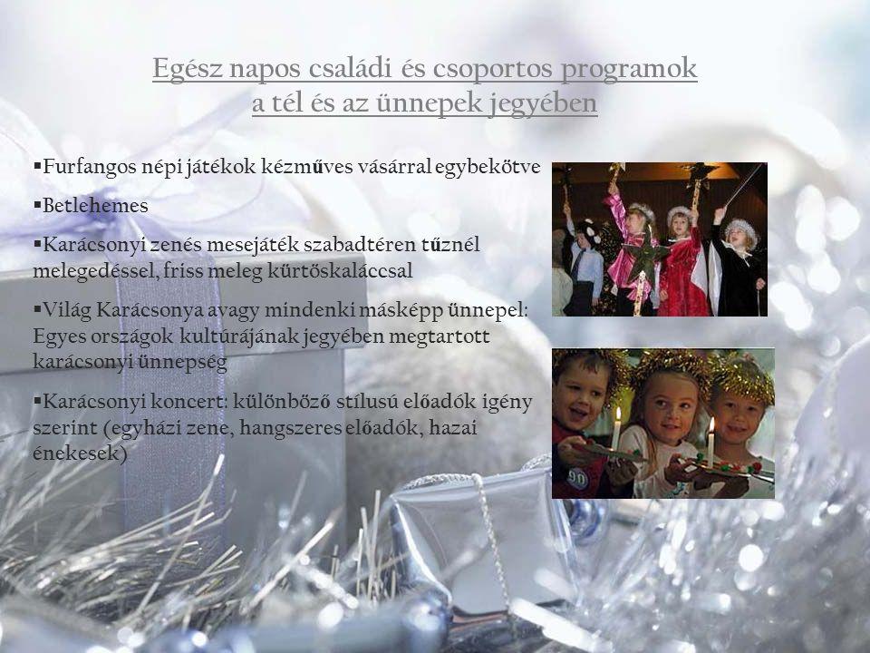 Egész napos családi és csoportos programok a tél és az ünnepek jegyében  Furfangos népi játékok kézm ű ves vásárral egybekötve  Betlehemes  Karácso