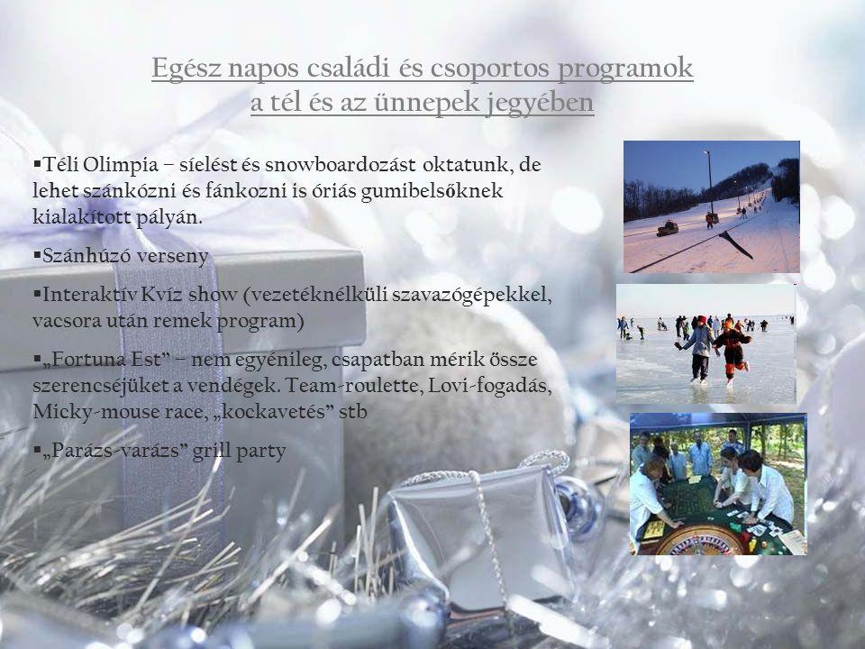 Egész napos családi és csoportos programok a tél és az ünnepek jegyében  Téli Olimpia – síelést és snowboardozást oktatunk, de lehet szánkózni és fán