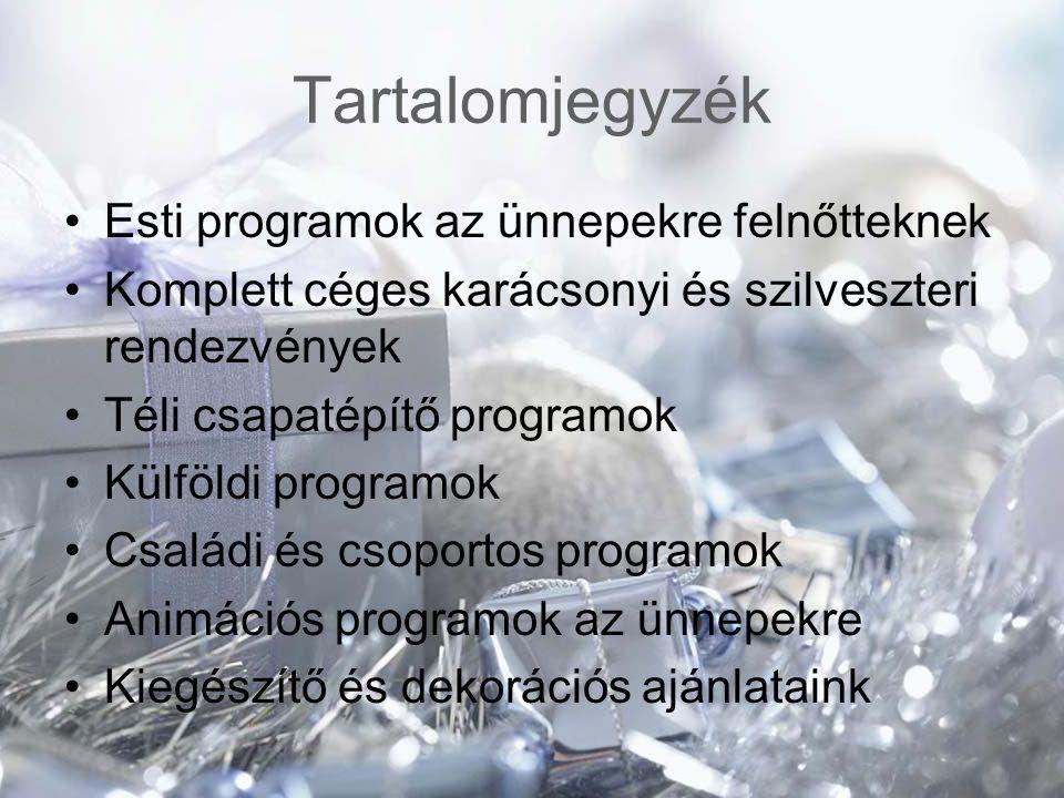 Tartalomjegyzék Esti programok az ünnepekre felnőtteknek Komplett céges karácsonyi és szilveszteri rendezvények Téli csapatépítő programok Külföldi pr