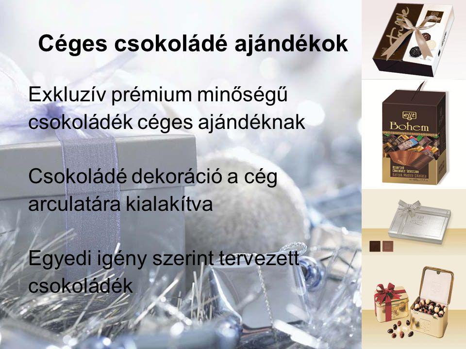 Céges csokoládé ajándékok Exkluzív prémium minőségű csokoládék céges ajándéknak Csokoládé dekoráció a cég arculatára kialakítva Egyedi igény szerint t