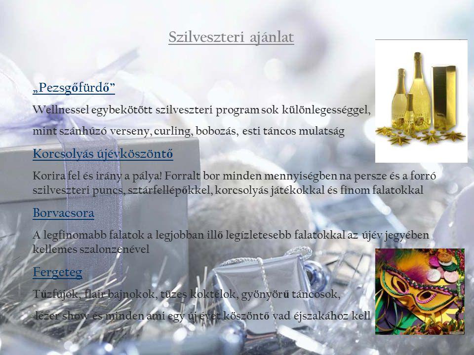 Animációs ajánlatunk az ünnepre Vízi torna Krampusz jelmezben Szárazföldi torna Mikulás jelmezben Családi Vízi vetélkedő Télapóval Kézműves foglalkozás (hópihe ablakdísz, hópihe és mikulás sapka készítés, képeslapkészítés) Kvízjáték a Mikuláshoz kapcsolódóan Ügyességi játékok csoki Mikulás nyereménnyel Télapóváró ének és verstanulás Télapó Mesél (esti felolvasás kisgyerekeknek)
