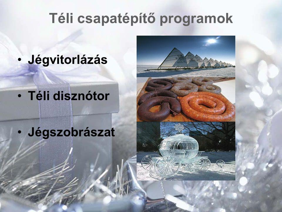 Téli csapatépítő programok Jégvitorlázás Téli disznótor Jégszobrászat