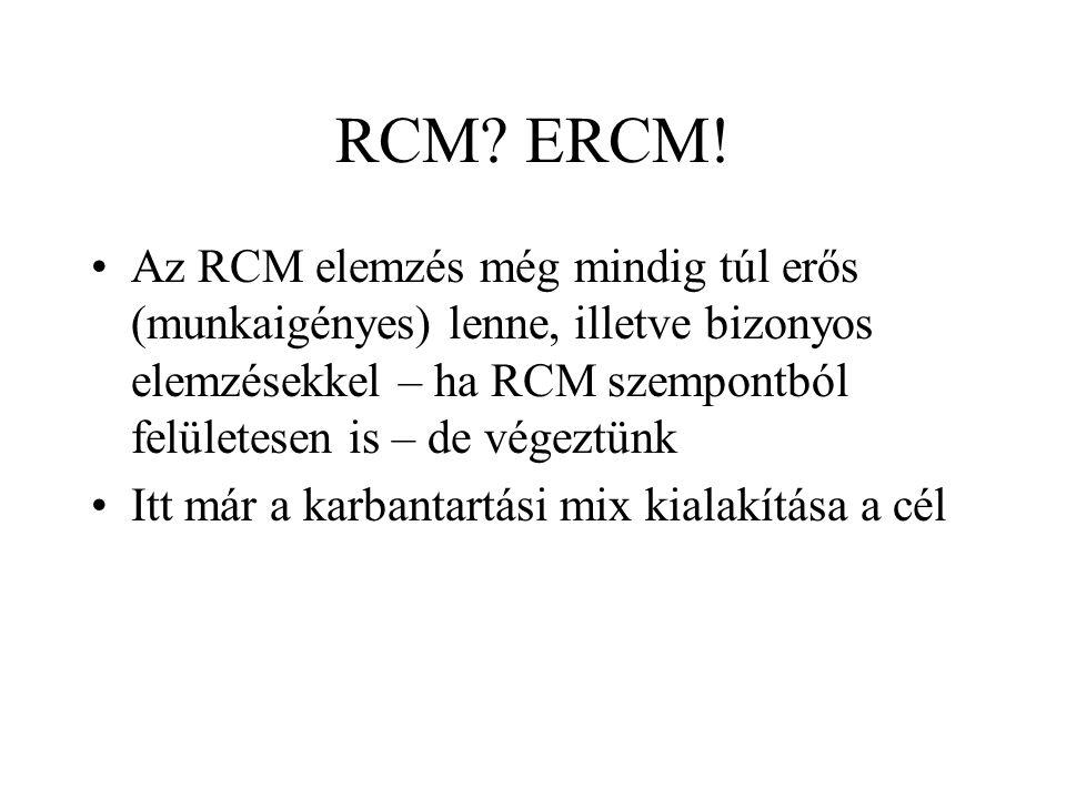 RCM? ERCM! Az RCM elemzés még mindig túl erős (munkaigényes) lenne, illetve bizonyos elemzésekkel – ha RCM szempontból felületesen is – de végeztünk I