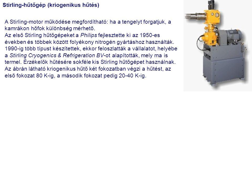 Stirling-hűtőgép (kriogenikus hűtés) A Stirling-motor működése megfordítható: ha a tengelyt forgatjuk, a kamrákon hőfok különbség mérhető. Az első Sti
