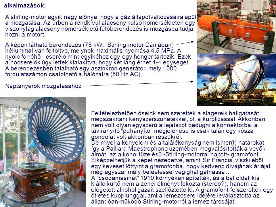 alkalmazások: A stirling-motor egyik nagy előnye, hogy a gáz állapotváltozásaira épül a mozgatása. Az űrben a rendkívül alacsony külső hőmérsékleten e