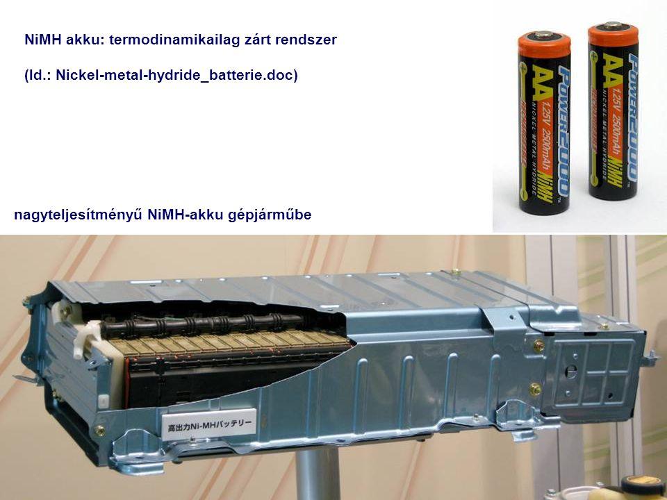 NiMH akku: termodinamikailag zárt rendszer (ld.: Nickel-metal-hydride_batterie.doc) nagyteljesítményű NiMH-akku gépjárműbe