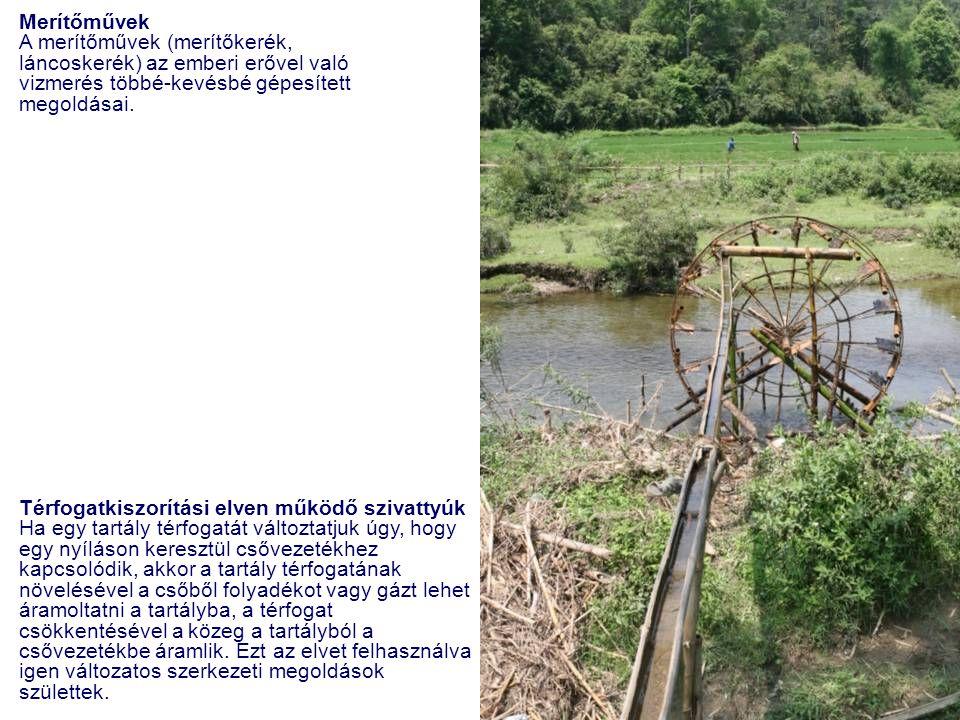 Merítőművek A merítőművek (merítőkerék, láncoskerék) az emberi erővel való vizmerés többé-kevésbé gépesített megoldásai. Térfogatkiszorítási elven műk