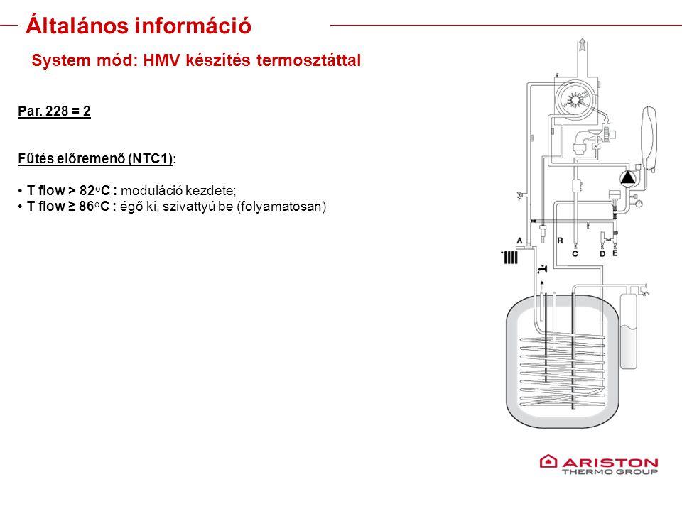 Training manual – GALILEO EVOLUTIONVersione 1V0 21 System mód: HMV készítés termosztáttal Par. 228 = 2 Fűtés előremenő (NTC1): T flow > 82°C : modulác