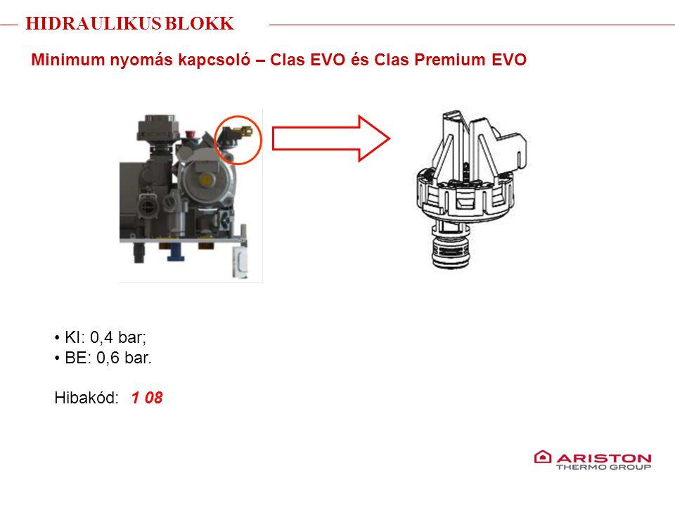 Training manual – GALILEO EVOLUTIONVersione 1V0 Minimum nyomás kapcsoló – Clas EVO és Clas Premium EVO KI: 0,4 bar; BE: 0,6 bar. Hibakód: 1 08 HIDRAUL