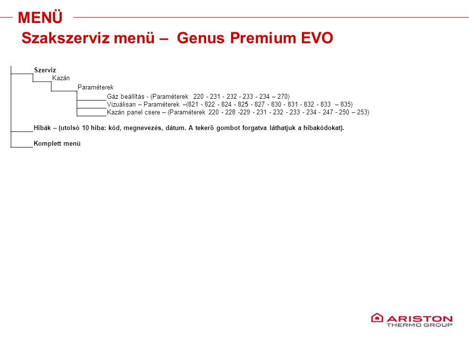 Training manual – GALILEO EVOLUTIONVersione 1V0 MENÜ Szerviz Kazán Paraméterek Gáz beállítás - (Paraméterek 220 - 231 - 232 - 233 - 234 – 270) Vizuáli