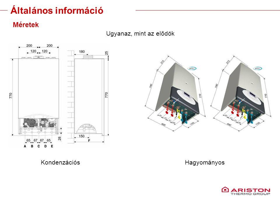 Training manual – GALILEO EVOLUTIONVersione 1V0 9 Általános információ Méretek Ugyanaz, mint az elődök KondenzációsHagyományos